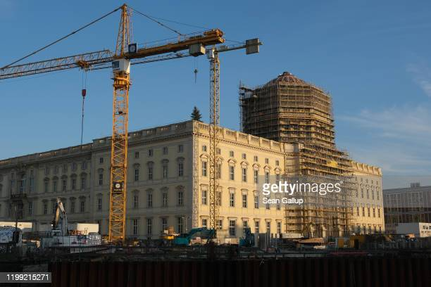 The Berliner Schloss city palace, which will house the new Humboldt Forum, stands under construction on January 12, 2020 in Berlin, Germany. The...