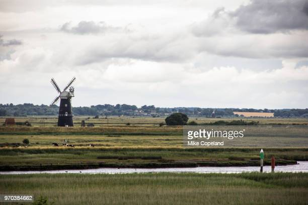 The Berney Arms Drainage Windmill is a brick built scheduled ancient monument at the confluence of the Yare and Waveney rivers in the Broads National Park, Norfolk, England