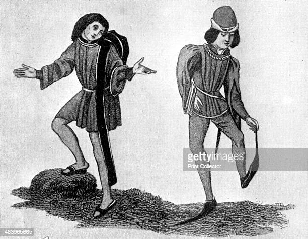 The berretino and poleyn, 15th century, . Examples of male costume, showing the method of carrying the berretino with its hanging becca. The poleyns...