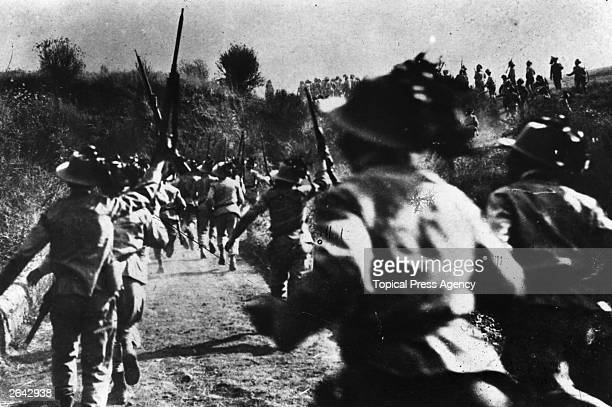 The Bersaglieri Italian rifle battalions advancing to the scene of action