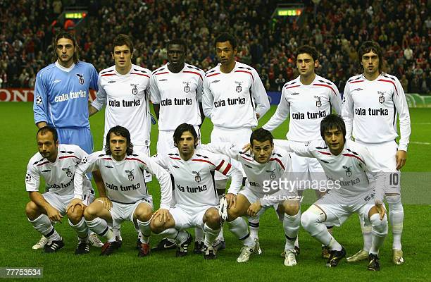 The Besiktas players line up for a team photo prior to the UEFA Champions League Group A match between Liverpool and Besiktas at Anfield on November...