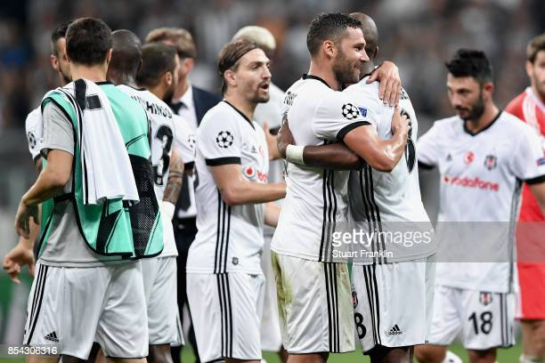 The Besiktas team celebrate after the UEFA Champions League Group G match between Besiktas and RB Leipzig at Besiktas Park on September 26 2017 in...