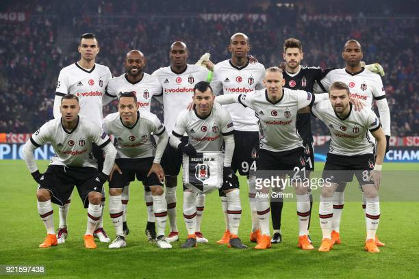 The Besiktas team line up ahead of the UEFA Champions League Round of 16 First Leg match between Bayern Muenchen and Besiktas at Allianz Arena on...