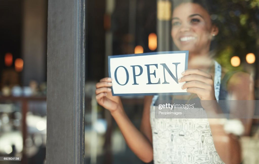 The best cafe in town is now open for business : Stock Photo