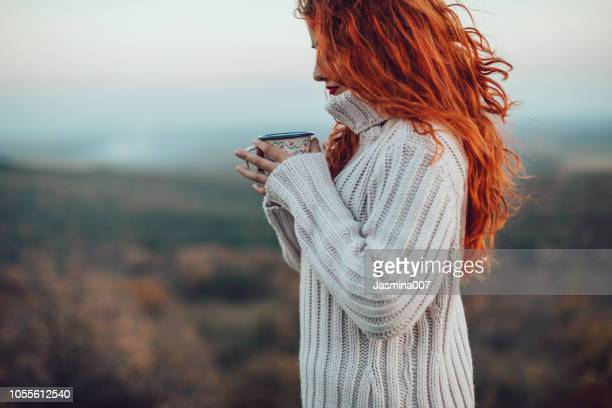 the best comfort on a cold day - redhead stock pictures, royalty-free photos & images