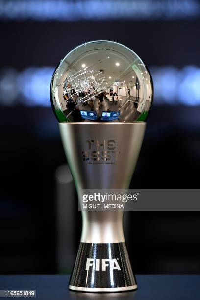 The Best Fifa Football Award cup is pictured prior to a press conference unveiling the finalists for the upcoming The Best Fifa Football Awards, on...