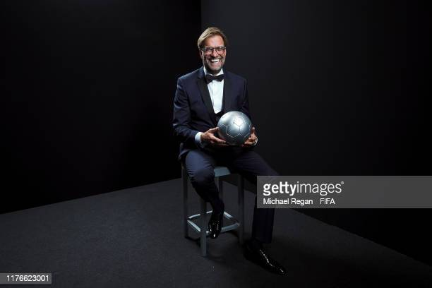 The Best FIFA Men's Coach Award finalist Juergen Klopp poses for a portrait in the photo booth prior to The Best FIFA Football Awards 2019 at...