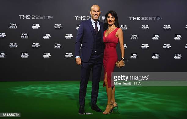 The Best FIFA Men's Coach nominee Zinedine Zidane of France and Real Madrid and wife Veronique pose as they arrive for The Best FIFA Football Awards...