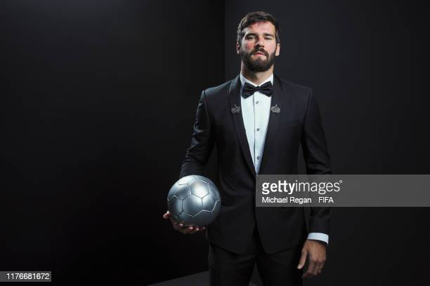 The Best FIFA Men's Goalkeeper Award finalist Alisson Becker of Liverpool and Brazil poses for a portrait in the photo booth prior to The Best FIFA...