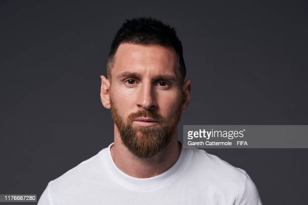 The Best FIFA Men's Player Award finalist Lionel Messi of Barcelona and Argentina poses for a portrait ahead of The Best FIFA Football Awards 2019 at...