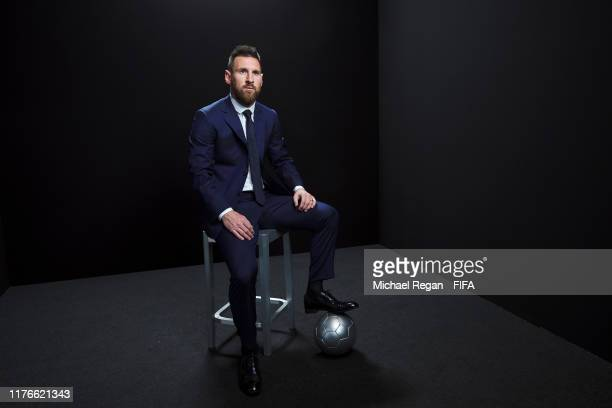 The Best FIFA Men's Player Award finalist Lionel Messi of FC Barcelona and Argentina poses for a portrait in the photo booth prior to The Best FIFA...