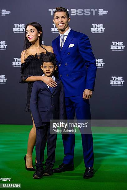 The Best FIFA Men's Player Award nominee Cristiano Ronaldo of Portugal and Real Madrid arrives with his son and a guest for The Best FIFA Football...