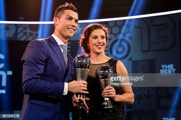 The Best FIFA Men's Player Award winner Cristiano Ronaldo of Portugal and Real Madrid and The Best FIFA Women's Player Award winner Carli Lloyd of...
