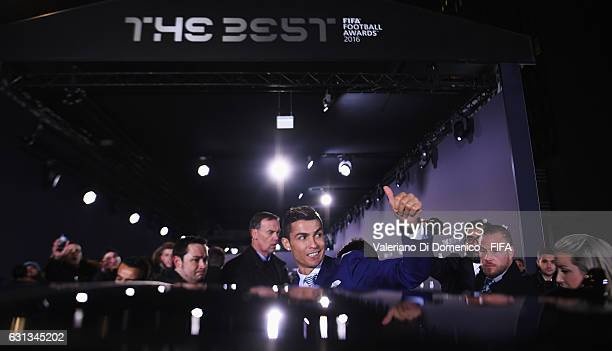 The Best FIFA Men's Player Award winner Cristiano Ronaldo of Portugal and Real Madrid leaves after The Best FIFA Football Awards at TPC Studio on...