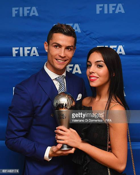 The Best FIFA Men's Player Award winner Cristiano Ronaldo of Portugal and Real Madrid poses with Georgina Rodriguez after The Best FIFA Football...