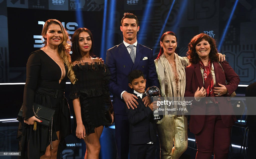 The Best FIFA Men's Player Award winner Cristiano Ronaldo of Portugal and Real Madrid poses with Georgina Rodriguez (2ndL), his mother Maria Dolores dos Santos Aveiro (R), his sisters and son Cristiano Ronaldo Jr after The Best FIFA Football Awards at TPC Studio on January 9, 2017 in Zurich, Switzerland.