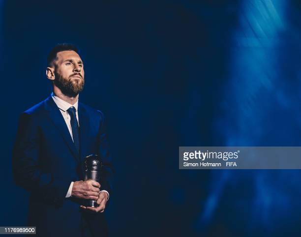 The Best FIFA Men's Player Award Winner Lionel Messi of FC Barcelona and Argentina is seen during The Best FIFA Football Awards 2019 at Teatro alla...