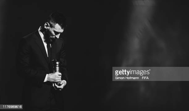 The Best FIFA Men's Player Award Winnrer Lionel Messi of FC Barcelona and Argentina is seen during The Best FIFA Football Awards 2019 at Teatro alla...