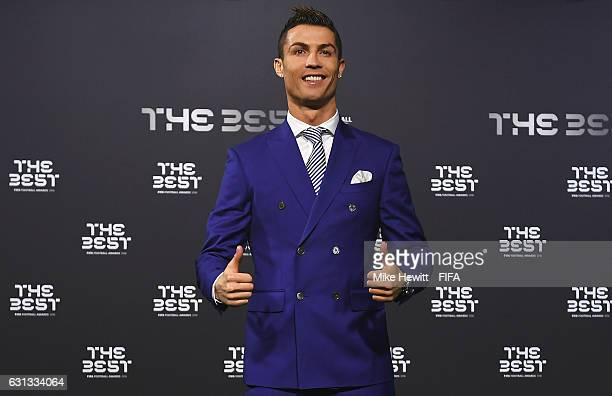 The Best FIFA Men's Player nominee Cristiano Ronaldo of Portugal and Real Madrid poses as he arrives for The Best FIFA Football Awards at TPC Studio...