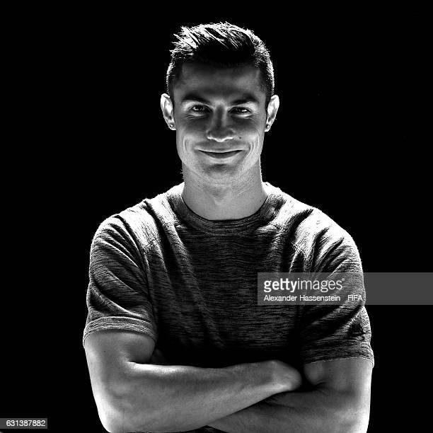 The Best FIFA Men's Player nominee Cristiano Ronaldo of Portugal and Real Madrid poses prior to The Best FIFA Football Awards at Kameha Zurich Hotel...