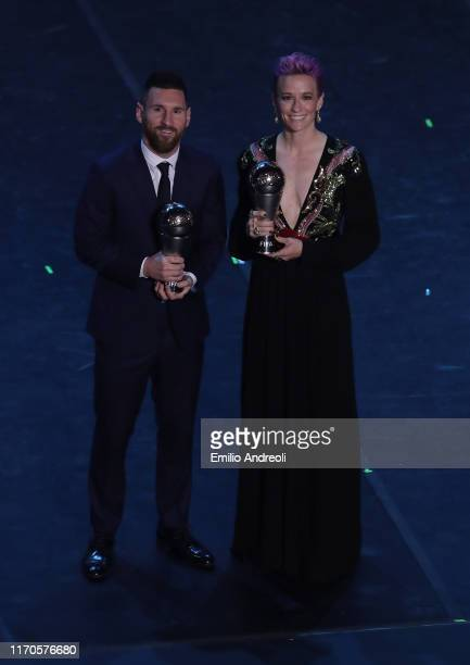 The Best FIFA Men's player of the year Lionel Messi and The Best FIFA womenÕs player of the year Megan Rapinoe pose for the photos at the end of The...
