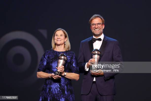 The Best FIFA Women's and Men's Coach Award Winners Jill Ellis of United States and Juergen Klopp, Head Coach of Liverpool pose during The Best FIFA...