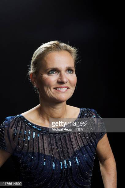 The Best FIFA Women's Coach 2019 award finalist Sarina Wiegman head coach of Netherlands poses for a portrait in the photo booth prior to The Best...