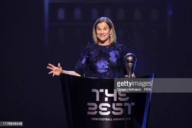 The Best FIFA Women's Coach Award Winner Jill Ellis of United States speaks during The Best FIFA Football Awards 2019 at Teatro alla Scala on...