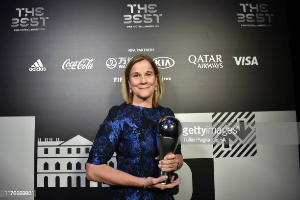 The Best FIFA Women's Coach Award Winner Jill Ellis of United States pose for a photo with her The Best FIFA Women's Coach 2019 award during The Best...