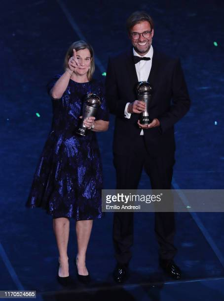 The Best FIFA Women's Coach of the Year Jill Ellis and The Best FIFA Men's Coach of the Year Juergen Klopp during The Best FIFA Football Awards 2019...