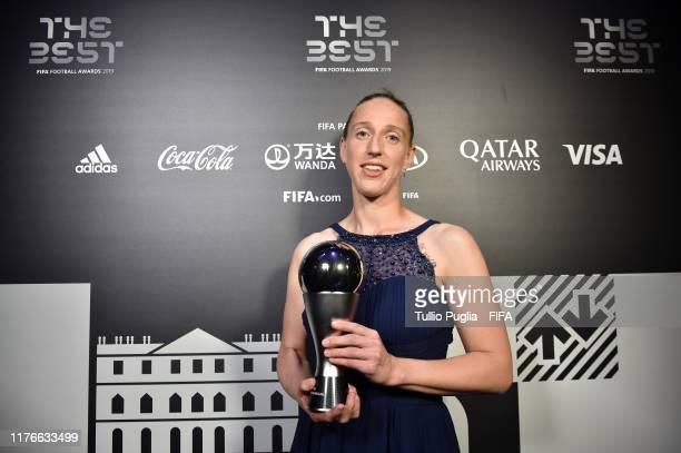 The Best FIFA Women's Goalkeeper award Winner Sari van Veenendaal of Nethderlands poses with trophy duringThe Best FIFA Football Awards 2019 at...