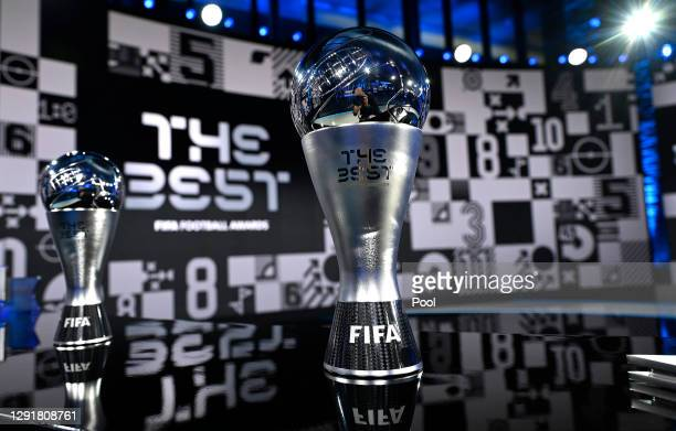 The Best FIFA Women's Player and The Best FIFA Men's Player awards are seen prior to the The Best FIFA Football Awards on December 17, 2020 in...