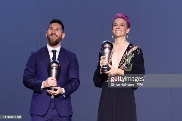 The Best FIFA Women's Player Award Winner Megan Rapinoe of Reign FC and United States and The Best FIFA Men's Player Award Winner Lionel Messi of FC...