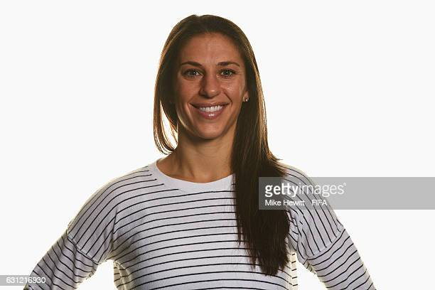 The Best FIFA Women's Player nominee Carli Lloyd of the United States and Houston Dash poses prior to The Best FIFA Football Awards at Kameha Zurich...