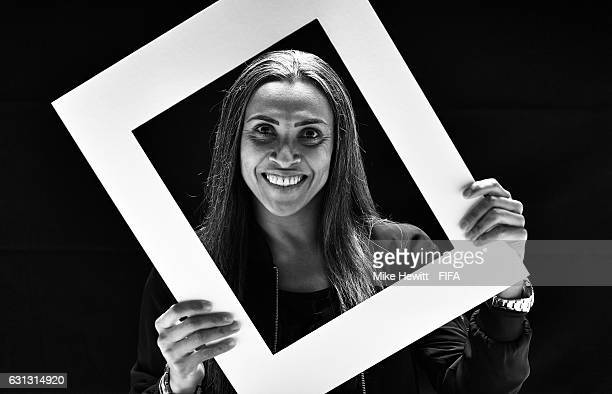 The Best FIFA Women's Player nominee Marta of Brazil and FC Rosengard poses prior to The Best FIFA Football Awards at Kameha Zurich Hotel on January...