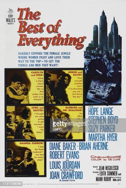 The Best Of Everything poster US poster art top left insert Stephen Boyd Hope Lange top right insert Louis Jourdan Suzy Parker center left insert...