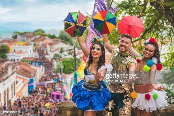 the best street carnival in olinda - frevo imagens e fotografias de stock