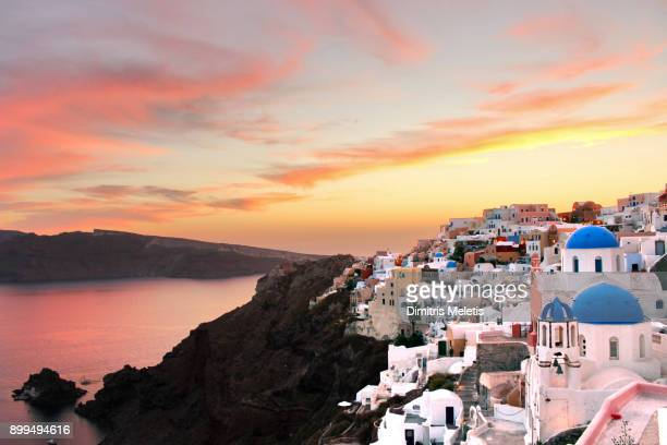 the best sunset in santorini - greece stock pictures, royalty-free photos & images