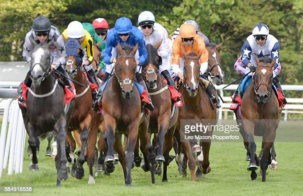 The Betfred Mile field on the top bend during Qatar Goodwood Festival 2016 at Goodwood on July 29 2016 in Chichester England