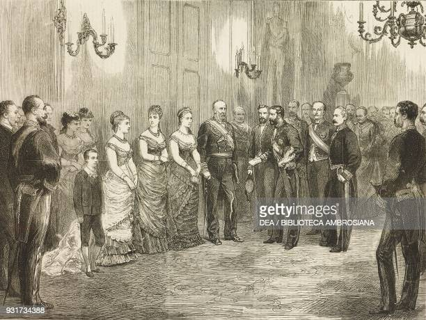 The betrothal of Alfonso XII, King of Spain, the King's envoy formally asking Antoine d'Orleans, the Duke of Montpensier, for the hand of his...