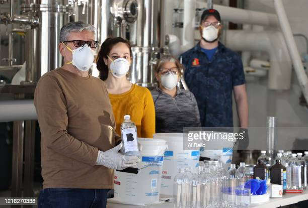 The Better Man Distilling Company founder Anthony Gruppuso Head of Operations Abby Gruppuso Head Chemist Giulia Cornille and Head Distiller Peter...