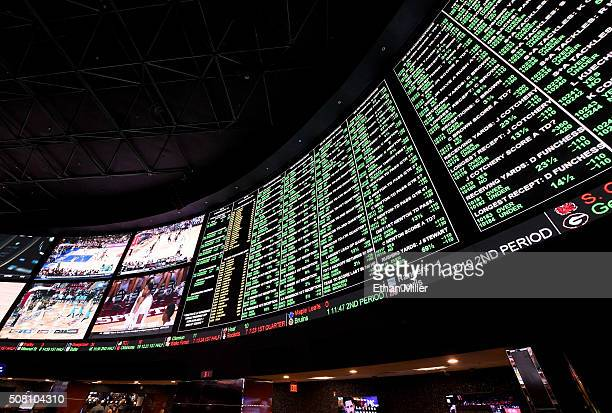 The betting line and some of the nearly 400 proposition bets for Super Bowl 50 between the Carolina Panthers and the Denver Broncos are displayed at...