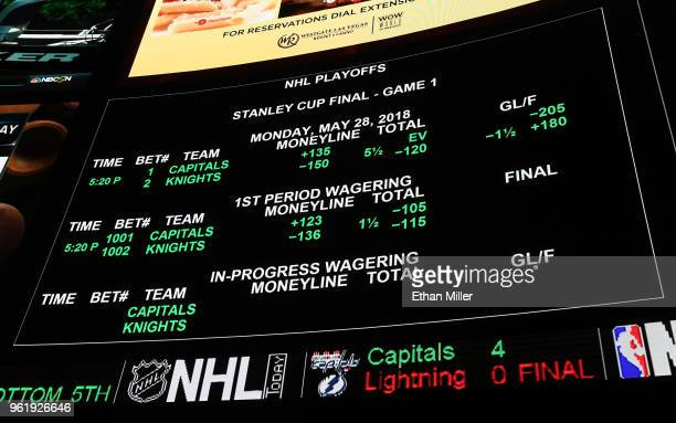 The betting line for Game One of the Stanley Cup Final shows the Vegas Golden Knights favored over the Washington Capitals at the Race Sports...