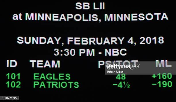 The betting line for Super Bowl LI between the Philadelphia Eagles and the New England Patriots is displayed at the Race Sports SuperBook at the...