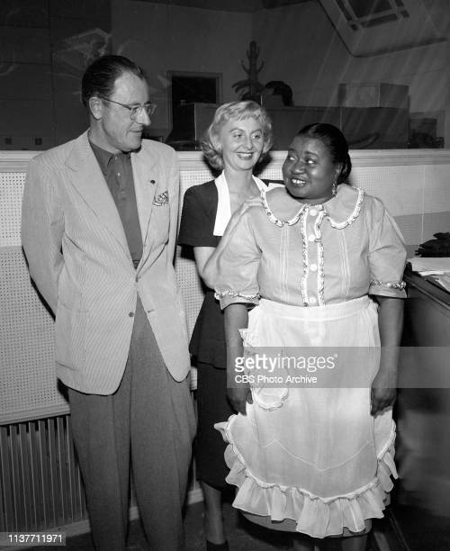 The Beulah Show a CBS Radio situation comedy August 27 1948 Hollywood CA Pictured from left is Tom McKnight Mary Jane Croft and Hattie McDaniel