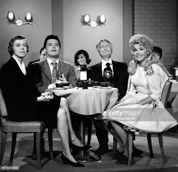 The Beverly Hillbillies The Beverly Hillbillies episode Flatt Clampett and Scruggs Pictured from left is Nancy Kulp Max Baer Jr Buddy Ebsen and Donna...