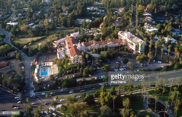 The Beverly Hills Hotel on Sunset Boulevard photographed from a helicopter on May 3 1991 Sunset Boulevard Beverly Hills Los Angeles California n
