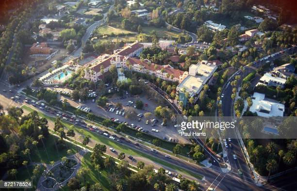 The Beverly Hills Hotel on Sunset Boulevard photographed from a helicopter on May 3 1991 Sunset Boulevard Beverly Hills Los Angeles California 'n