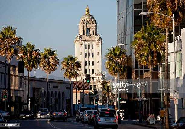 The Beverly Hills Police Department building rises above Little Santa Monica Boulevard in Beverly Hills California US on Tuesday July 26 2011 Global...