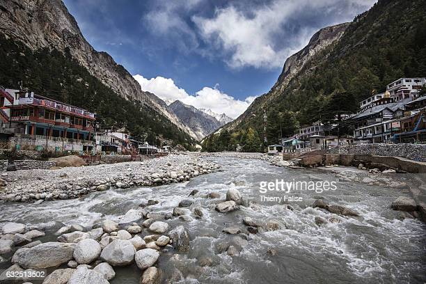 The Bhagirathi River which marks the origin of the Ganges River flows through Gangotri one of India's main Hindu pilgrim towns Gangotri is located at...